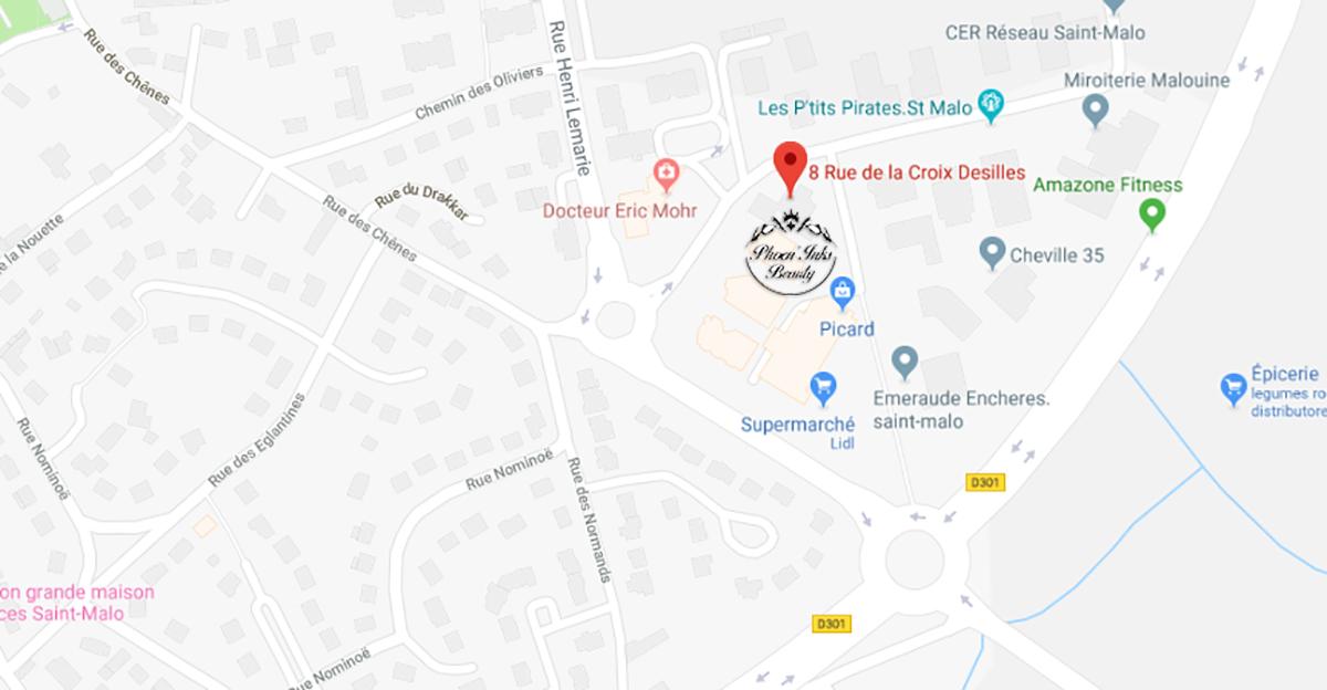 plan accès à l'institut de beauté de Saint-Malo